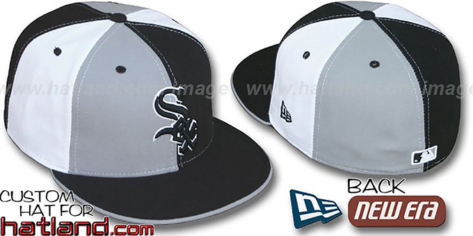 White Sox 'PINWHEEL' Grey-Black-White Fitted Hat by New Era : pictured without stickers that these products are shipped with