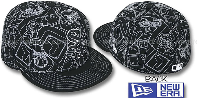 White Sox 'PUFFY REMIX' Black-White Fitted Hat by New Era : pictured without stickers that these products are shipped with