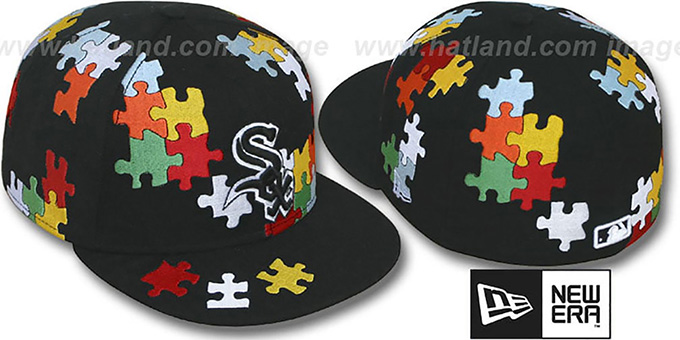 White Sox 'PUZZLE' Black Fitted Hat by New Era : pictured without stickers that these products are shipped with