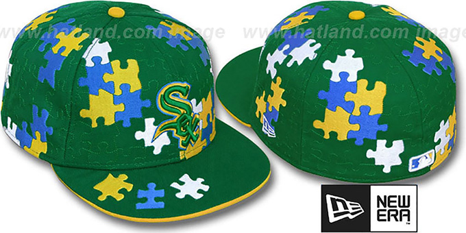 White Sox 'PUZZLE' Green Fitted Hat by New Era : pictured without stickers that these products are shipped with