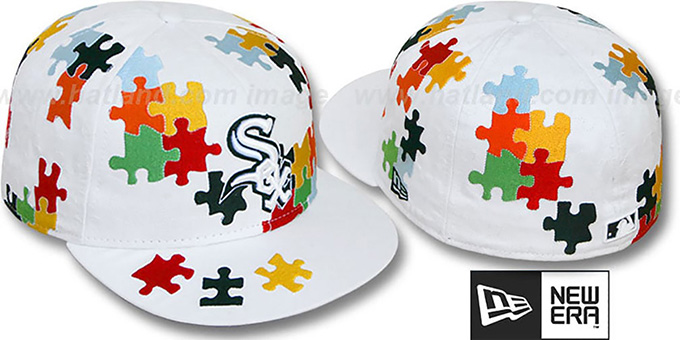 White Sox 'PUZZLE' White Fitted Hat by New Era : pictured without stickers that these products are shipped with