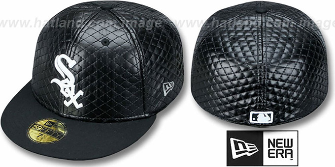 White Sox 'QUILTE' Black Fitted Hat by New Era : pictured without stickers that these products are shipped with
