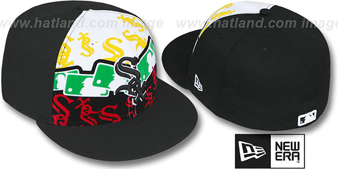 White Sox 'RASTA LAYERED' Black Fitted Hat by New Era : pictured without stickers that these products are shipped with