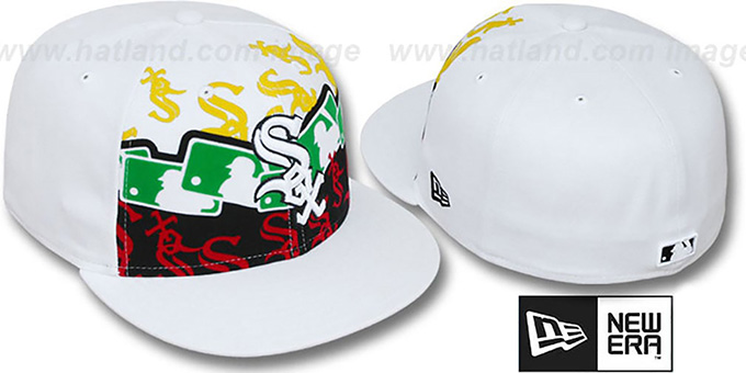 White Sox 'RASTA LAYERED' White Fitted Hat by New Era : pictured without stickers that these products are shipped with