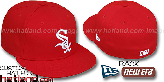 White Sox 'TEAM-BASIC' Red-White Fitted Hat by New Era : pictured without stickers that these products are shipped with