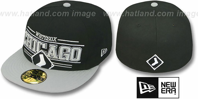White Sox 'RETRO-SMOOTH' Black-Grey Fitted Hat by New Era : pictured without stickers that these products are shipped with