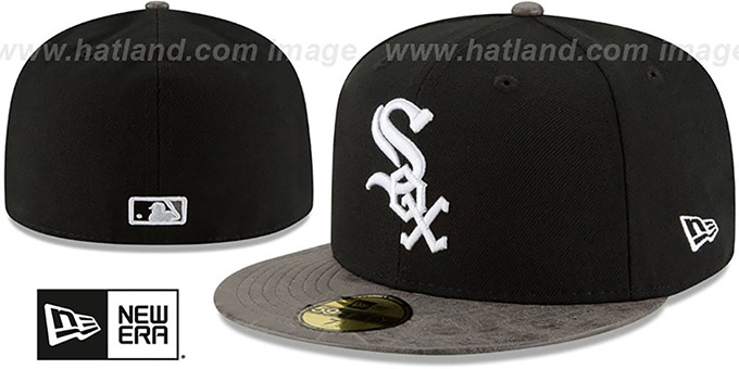 White Sox 'RUSTIC-VIZE' Black-Grey Fitted Hat by New Era : pictured without stickers that these products are shipped with