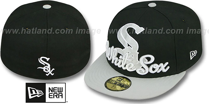 White Sox 'SCRIPT-PUNCH' Black-Grey Fitted Hat by New Era : pictured without stickers that these products are shipped with
