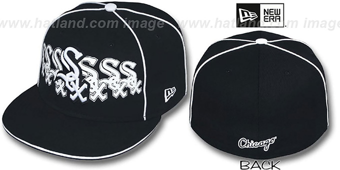 White Sox 'SEVEN' Black Fitted Hat by New Era : pictured without stickers that these products are shipped with