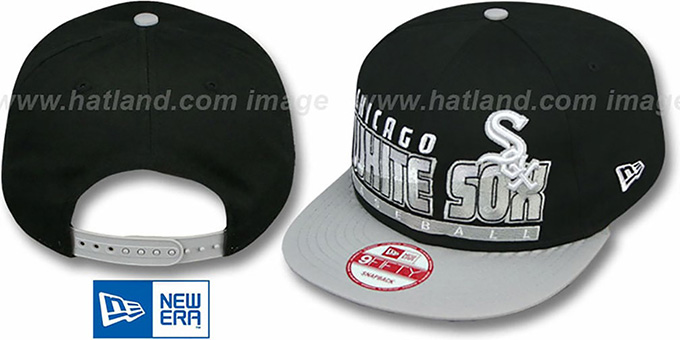 White Sox 'SLICE-N-DICE SNAPBACK' Black-Grey Hat by New Era : pictured without stickers that these products are shipped with