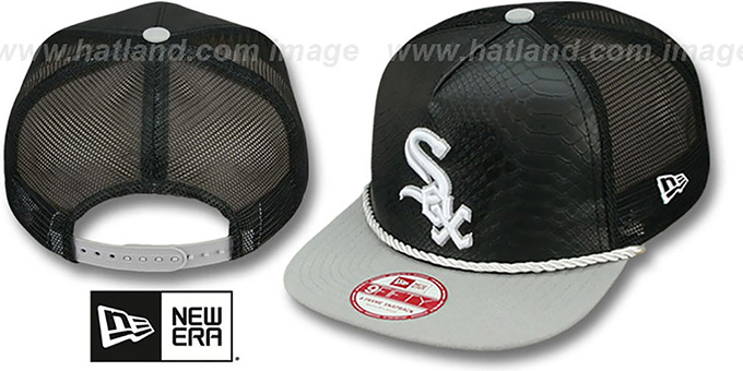 White Sox 'SNAKE A-FRAME SNAPBACK' Black-Grey Hat by New Era : pictured without stickers that these products are shipped with