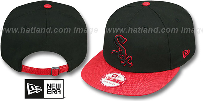 White Sox 'SNAKE-THRU STRAPBACK' Black-Red Adjustable Hat by New Era : pictured without stickers that these products are shipped with