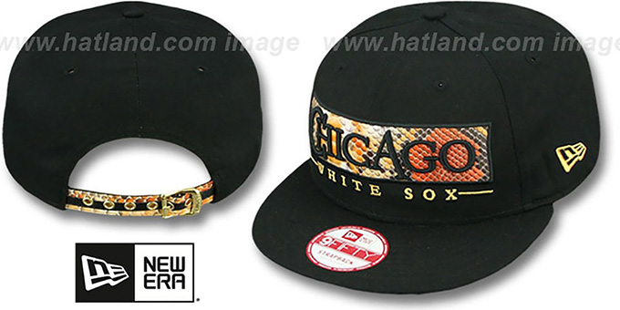 White Sox 'SNAKE-WORD STRAPBACK' Black Hat by New Era : pictured without stickers that these products are shipped with