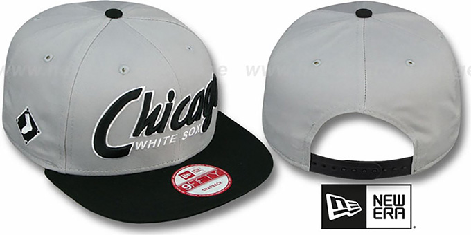 White Sox 'SNAP-IT-BACK SNAPBACK' Grey-Black Hat by New Era : pictured without stickers that these products are shipped with