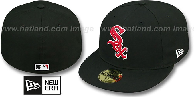 b3709d4436a85 White Sox  SOLID TEAM-BASIC  Black-Red Fitted Hat by New Era