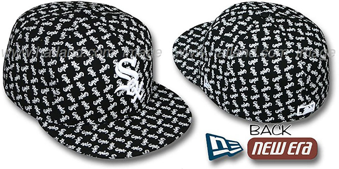 White Sox SOX 'ALL-OVER FLOCKING' Black Fitted Hat by New Era : pictured without stickers that these products are shipped with