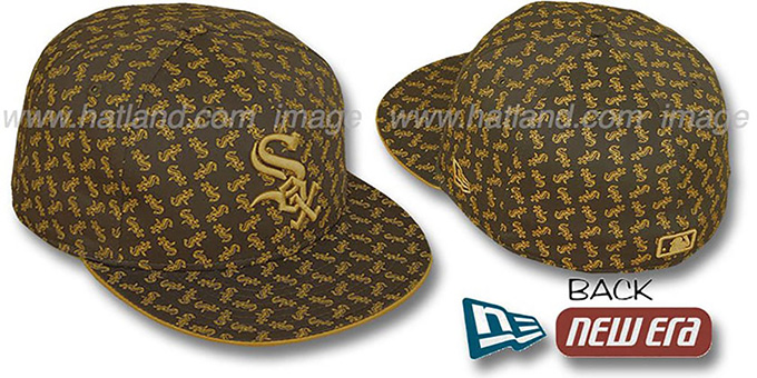 White Sox SOX 'ALL-OVER FLOCKING' Brown-Wheat Fitted Hat by New Era : pictured without stickers that these products are shipped with