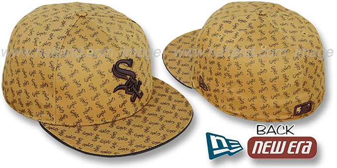 White Sox SOX 'ALL-OVER FLOCKING' Wheat-Brown Fitted Hat by New Era : pictured without stickers that these products are shipped with