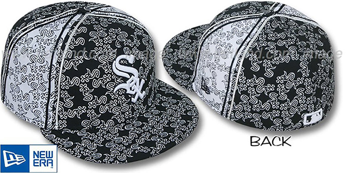 White Sox Sox-'PJs FLOCKING PINWHEEL' Black-White Fitted Hat by New Era : pictured without stickers that these products are shipped with