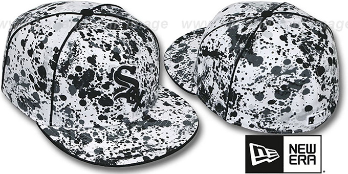 White Sox 'SPLATTER' White-Black Fitted Hat by New Era : pictured without stickers that these products are shipped with