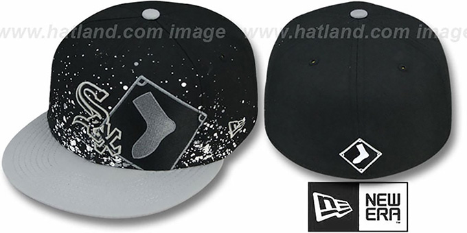 White Sox 'SPLATZ' Black-Grey Fitted Hat by New Era : pictured without stickers that these products are shipped with