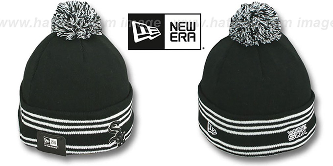 White Sox 'SPORT-KNIT' Black-Black Beanie Hat by New Era : pictured without stickers that these products are shipped with