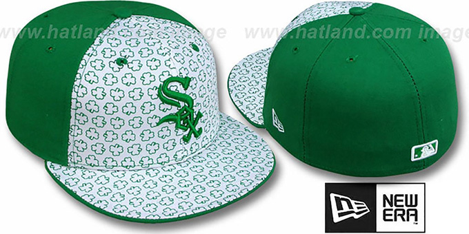 White Sox 'ST PATS FLOCKING PINWHEEL' White-Kelly Fitted Hat by New Era : pictured without stickers that these products are shipped with