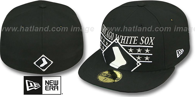 White Sox 'STAR STUDDED' Black Fitted Hat by New Era : pictured without stickers that these products are shipped with