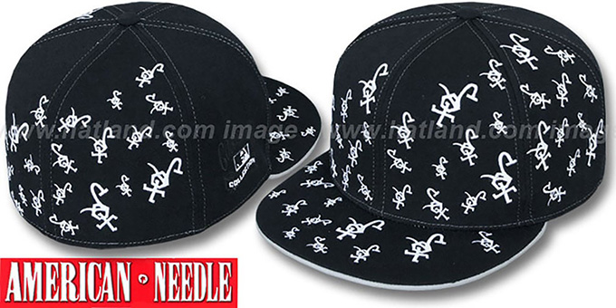 White Sox 'STARSTRUCK' Black Fitted Hat by American Needle : pictured without stickers that these products are shipped with
