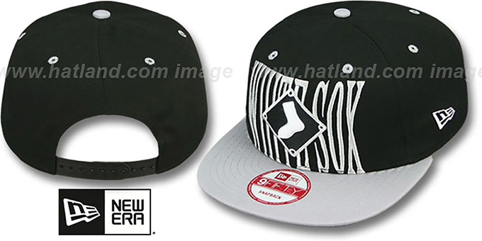 White Sox 'STEP-ABOVE SNAPBACK' Black-Grey Hat by New Era : pictured without stickers that these products are shipped with