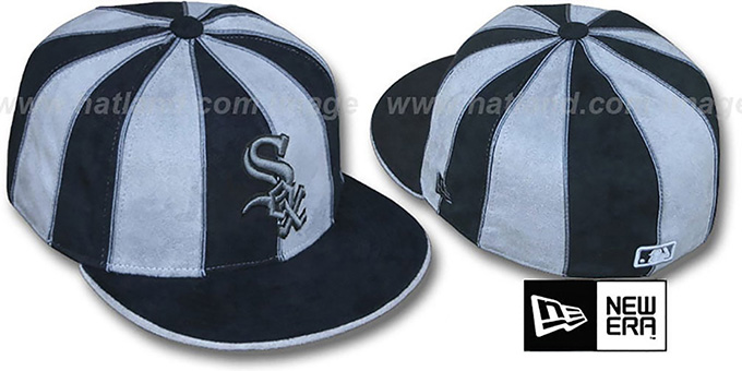 White Sox 'SUEDE 12-PACK' Black-Grey Fitted Hat by New Era : pictured without stickers that these products are shipped with