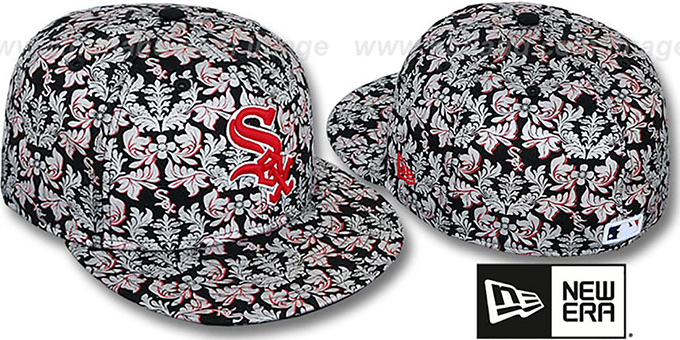 White Sox 'TAPESTRY FOIL' Black Fitted Hat by New Era : pictured without stickers that these products are shipped with