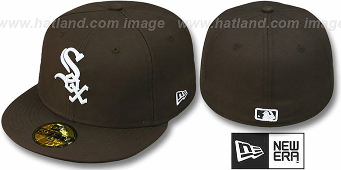 White Sox 'TEAM-BASIC' Brown-White Fitted Hat by New Era : pictured without stickers that these products are shipped with