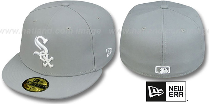 White Sox 'TEAM-BASIC' Grey-White Fitted Hat by New Era : pictured without stickers that these products are shipped with