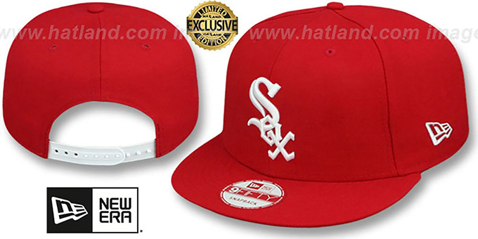 White Sox 'TEAM-BASIC SNAPBACK' Red-White Hat by New Era : pictured without stickers that these products are shipped with