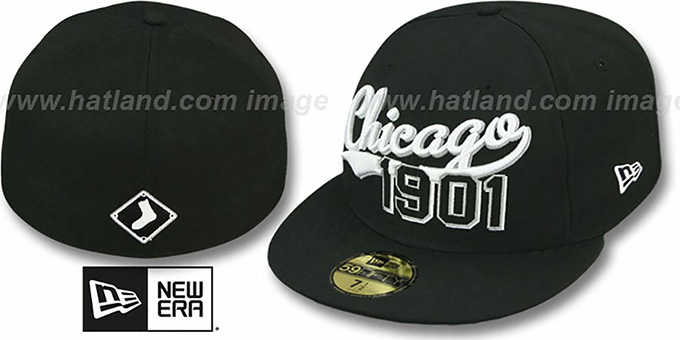 White Sox 'THE BEGINNING' Black Fitted Hat by New Era : pictured without stickers that these products are shipped with