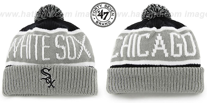 White Sox 'THE-CALGARY' Grey-Black Knit Beanie Hat by Twins 47 Brand : pictured without stickers that these products are shipped with