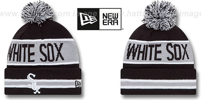 White Sox 'THE-COACH' Black Knit Beanie Hat by New Era : pictured without stickers that these products are shipped with