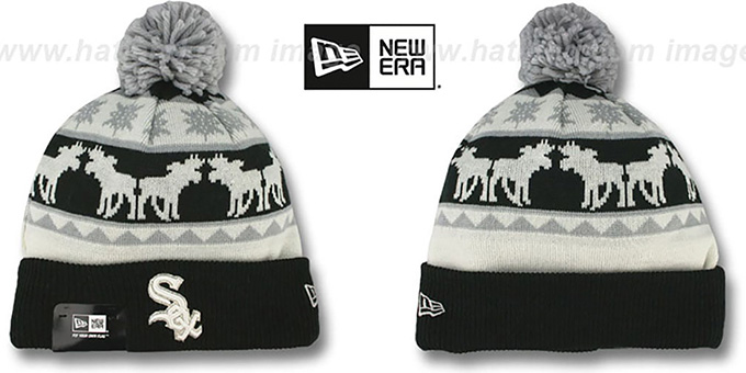 White Sox 'THE-MOOSER' Knit Beanie Hat by New Era : pictured without stickers that these products are shipped with