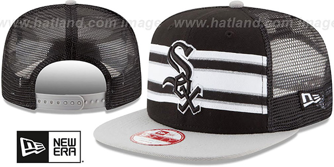 White Sox 'THROWBACK-STRIPE SNAPBACK' Black-Grey Hat by New Era : pictured without stickers that these products are shipped with