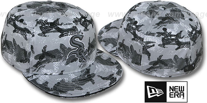 White Sox 'THUMBPRINT' Grey Fitted Hat by New Era : pictured without stickers that these products are shipped with