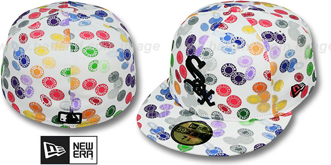 White Sox 'TOKENS' White-Multi Fitted Hat by New Era : pictured without stickers that these products are shipped with