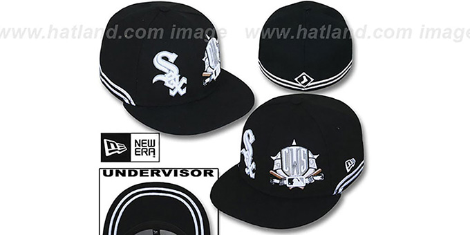 White Sox 'TWO-BIT' Black-White Fitted Hat by New Era : pictured without stickers that these products are shipped with