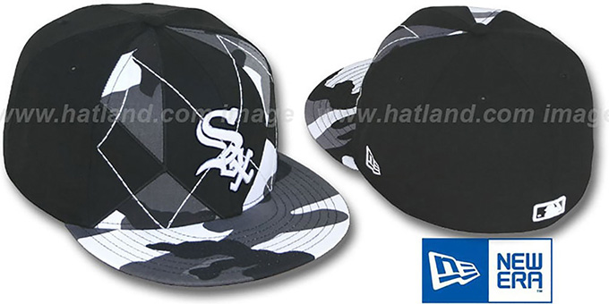 White Sox 'URBAN CAMO BRADY' Fitted Hat by New Era : pictured without stickers that these products are shipped with