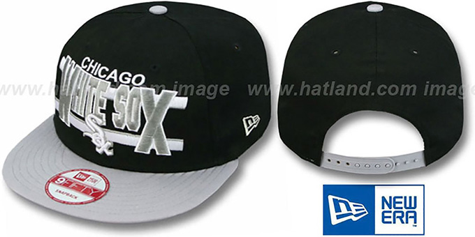 White Sox 'WORDSTRIPE SNAPBACK' Black-Grey Hat by New Era : pictured without stickers that these products are shipped with