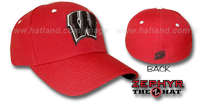 Wisconsin 'DH' Red Fitted Hat by Zephyr : pictured without stickers that these products are shipped with
