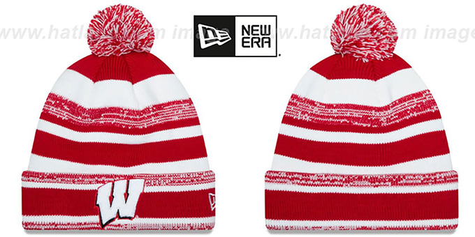 Wisconsin 'NCAA-STADIUM' Knit Beanie Hat by New Era : pictured without stickers that these products are shipped with