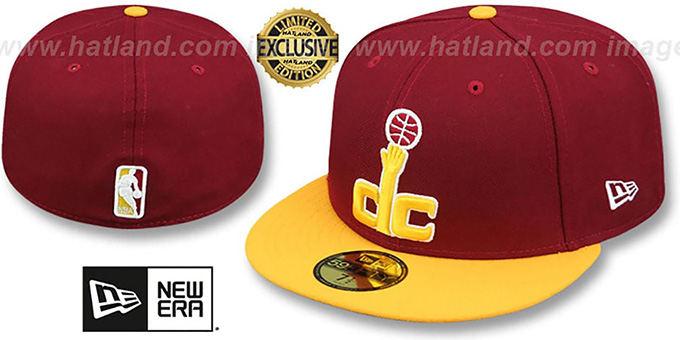Wizards 2T 'OPPOSITE-TEAM' Burgundy-Gold Fitted Hat by New Era