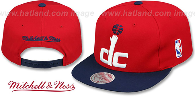 Wizards '2T XL-LOGO SNAPBACK' Red-Navy Hat by Mitchell and Ness : pictured without stickers that these products are shipped with