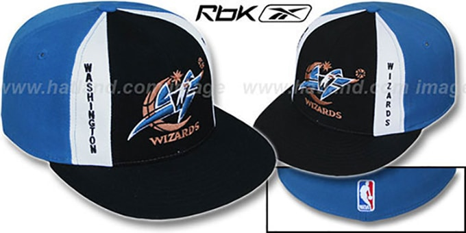 Wizards 'AJD PINWHEEL' Black-Blue Fitted Hat by Reebok : pictured without stickers that these products are shipped with